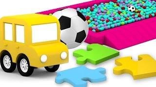 Die Brücke aus Puzzleteilen: Zeichentrick für Kinder mit Spielzeugautos. Die 4 kleinen Autos