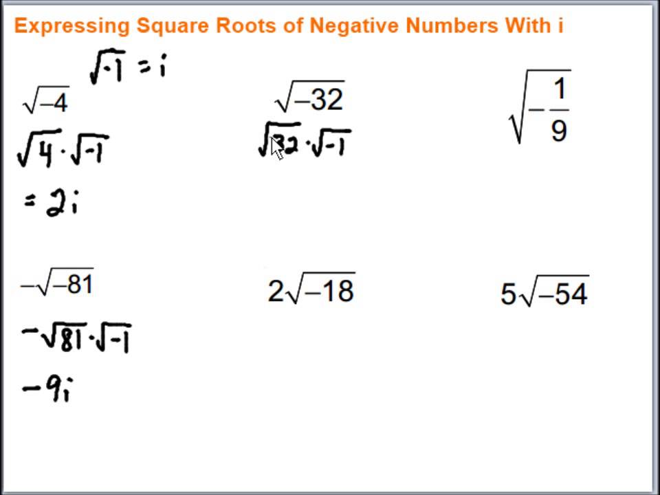 expressing square roots of negative numbers with i youtube