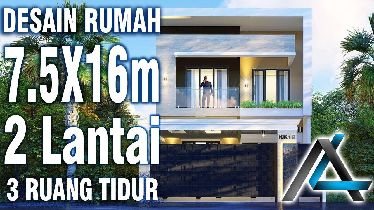 Desain Rumah 7 5 X 16 Meter I Surabaya Rumah Minimalis Modern 2 Lantai Rooftop Kolam Ikan Youtube