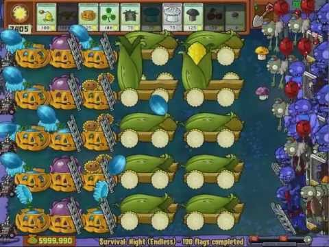 Plants vs Zombies - Beat 100% - All Survival Endless Games