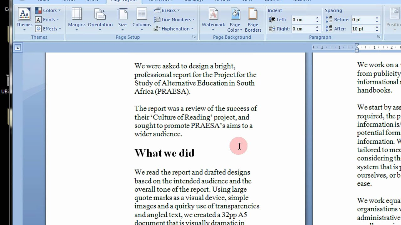 writing a book page setup