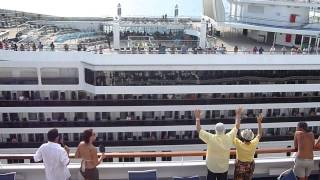 Cruise ship horn battle between Carnival Valor and Carnival Conquest in Cozumel