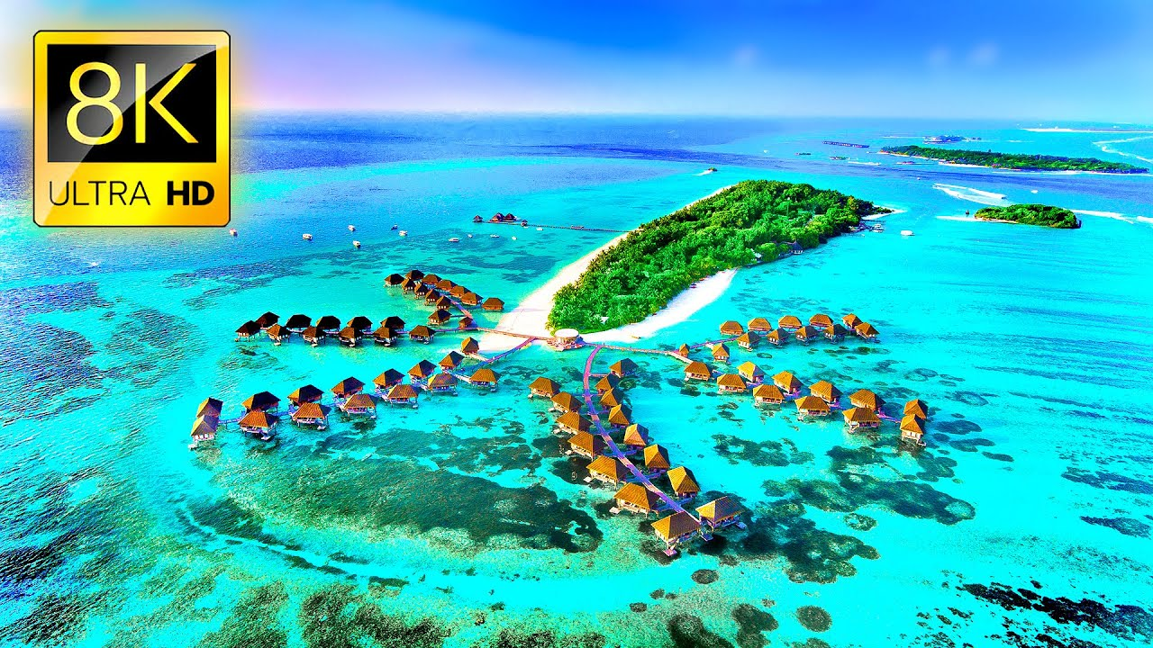 Fly Away to MALDIVES in 8K ULTRA HD - Best Tropical Island Tour with Relaxing Music and Ocean Sounds