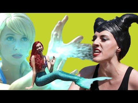 Frozen Elsa vs Maleficent & Ariel's Birthday Pool Party | Princesses turn into Real Life Mermaids