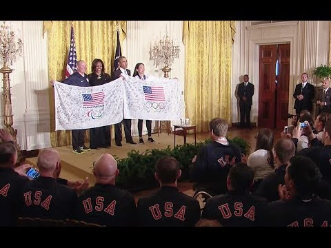 President Obama and First Lady Michelle Obama welcome members of the 2014 U.S. Olympic and Paralympic teams to the White House, in honor of their performance at this year's Winter Games in Sochi, Russia. April 3, 2014.