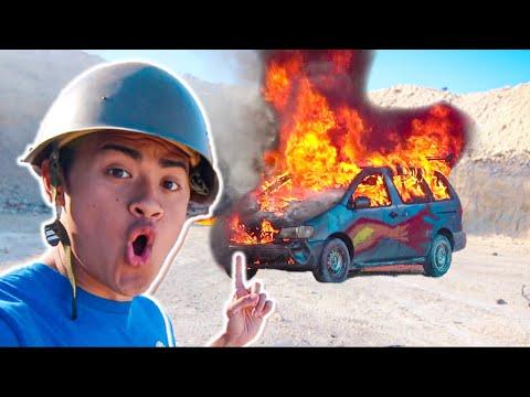 Minivan BLOWN UP By TANK **EXPLOSION**