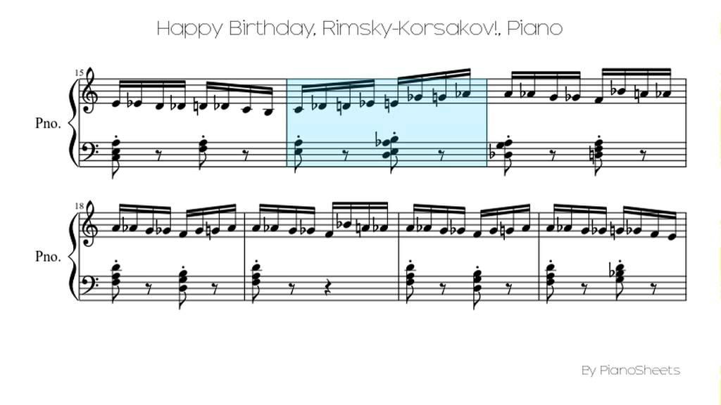 Piano happy birthday piano sheet music : Happy Birthday, Rimsky-Korsakov! [Piano Solo] - YouTube