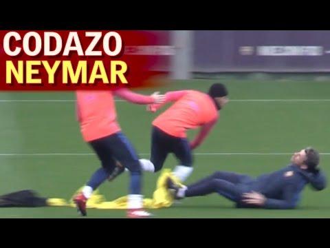 Un codazo de Neymar deja K O  a Unzué en el entrenamiento