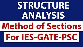 Method of Sections to solve Truss, Structure Analysis Civil Engineer for IES GATE PSC
