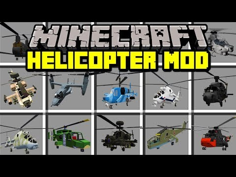 Minecraft HELICOPTERS MOD!   CRAFT AND FLY MILITARY HELICOPTERS!   Modded Mini-Game