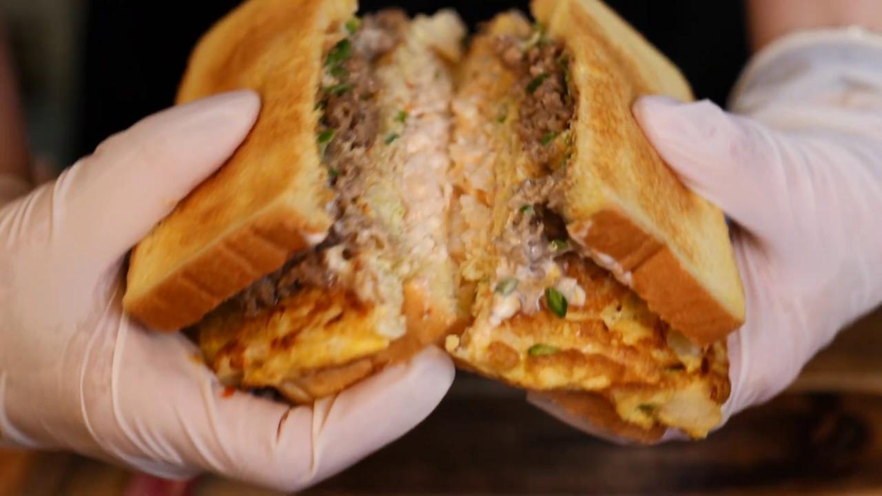 3단으로 만들어 푸짐한 토스트 | 동대문 토성 3단 토스트 | Famous  Three Layers Big Toast | Korean Street Food
