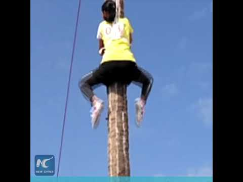 Chinese man climbs 9-meter coconut tree in 9.8 seconds