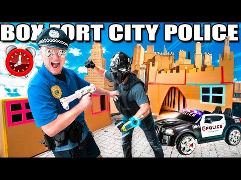Box Fort Police Super Villain & Stopping Crime - 24 Hour Box Fort City Challenge Day 5