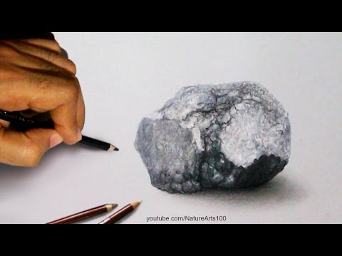 Drawing a Stone, 3D art on paper, Time Lapse