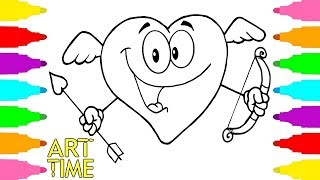 How to Draw Heart Coloring Pages for Kids with Colored Markers