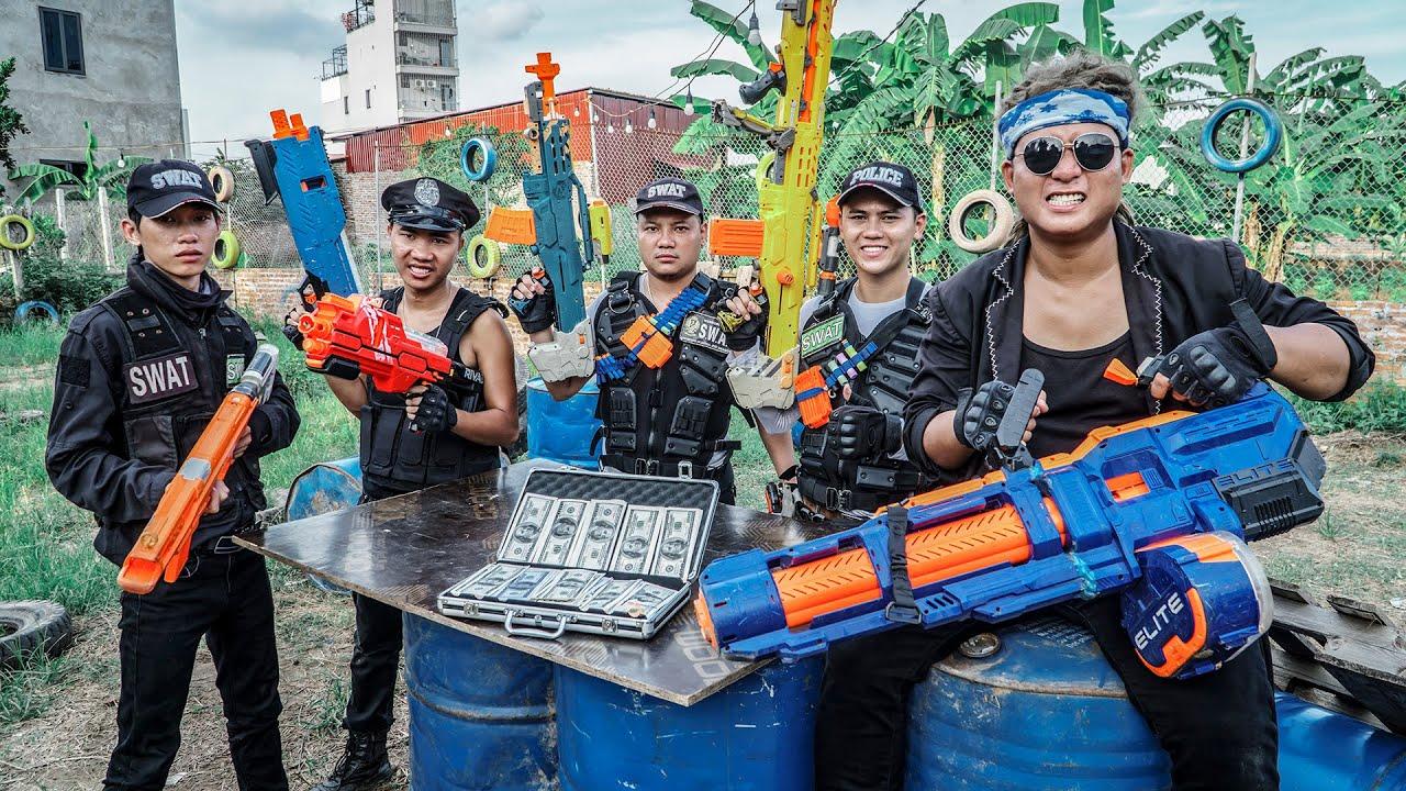 LTT Game Nerf War : Warriors SEAL X Nerf Guns Fight Crime Group Mr Zero Prison Break Police