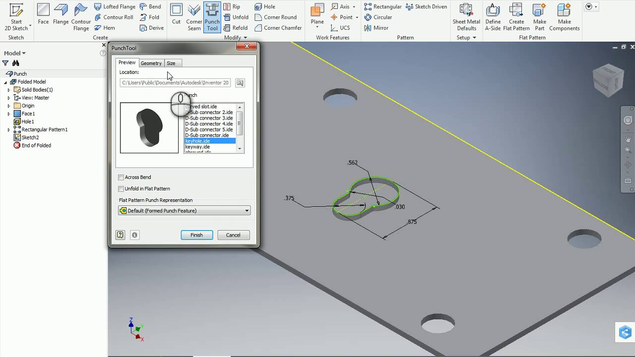 Inventor Sheet Metal Punch Feature Youtube