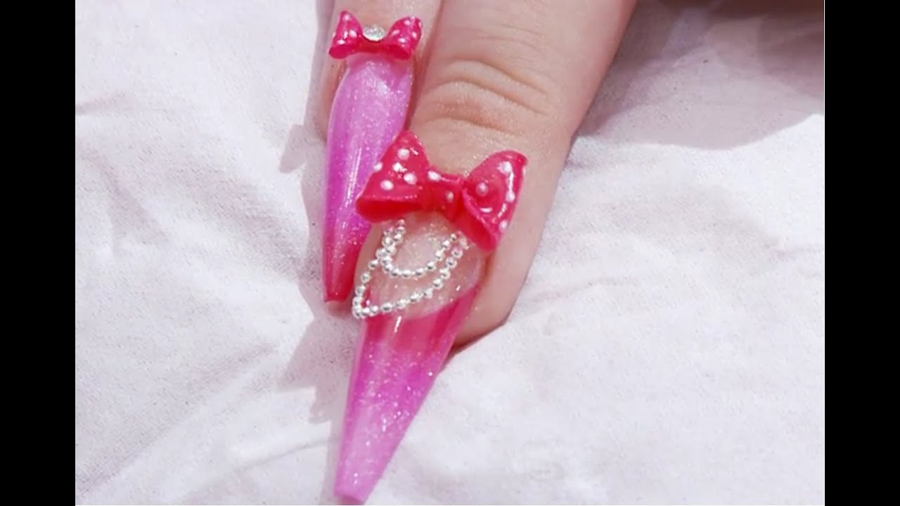 Part 2 - Pretty in Pink Acrylic Ballet Slipper Nail with 3D bow ...