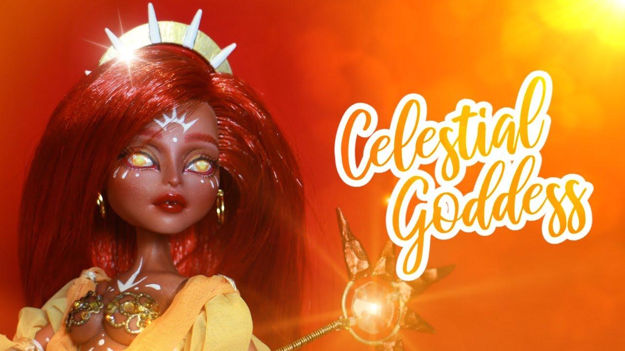 CELESTIAL SUN GODDESS doll repaint☀️ Custom Monster High Doll