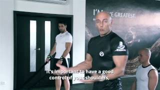 Battle ropes exercise Spiral whips - upper body strength
