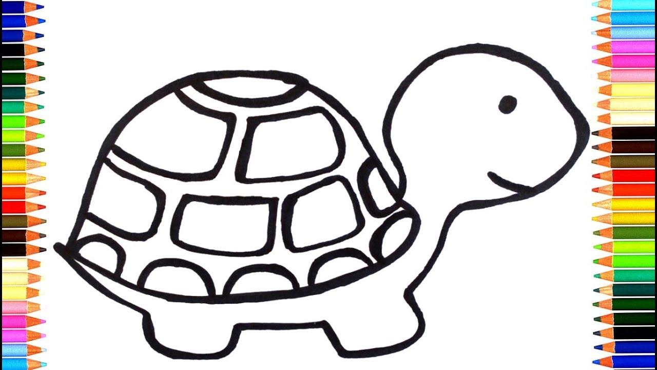 Как нарисовать черепаху для детей мультик раскраска - YouTube
