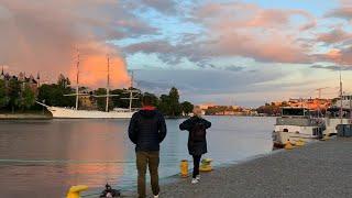 Stockholm Sunset Walks: Strömbron - Hornstull. Old town shoreline, 4k, natural sound