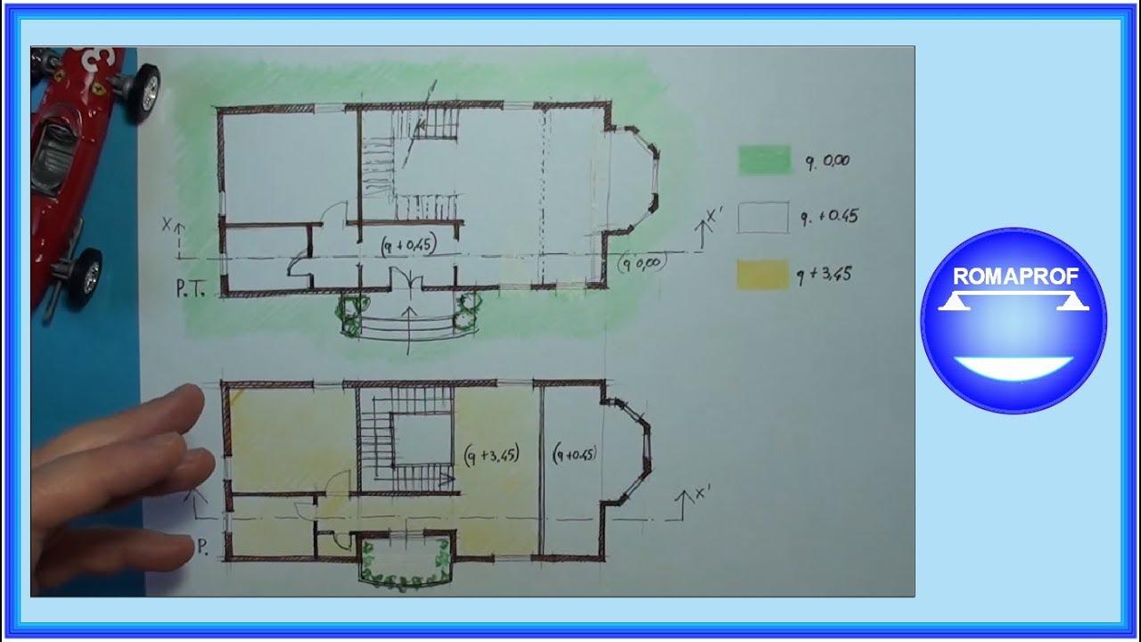 Sezione a mano di una villetta 65 youtube for Disegnare una piantina di casa