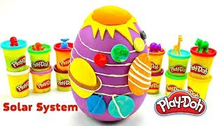 Huge Play Doh Surprise Eggs SOLAR SYSTEM | Learn Planets Vegetables & fruit w/ Plastilina Play Doh