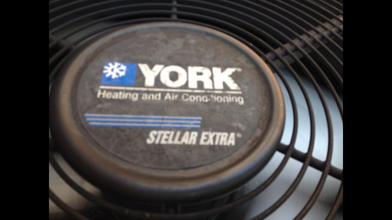 york 4 ton. 2002 york stellar extra 4 ton central air conditioner running! c