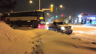 Ford F-150 pulls Ottawa oc transpo double decker bus out of 50+ cm of snow!
