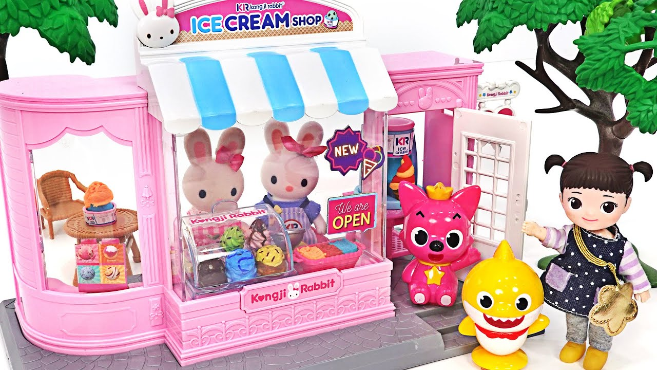 Let's eat delicious Ice Cream with Pinkfong and Baby Shark! Kongji Rabbit Ice Cream Shop Play