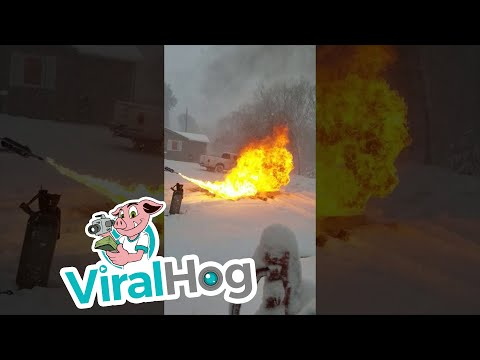 Tige and Daniel - Guy Uses A Flamethrower For Snow Removal