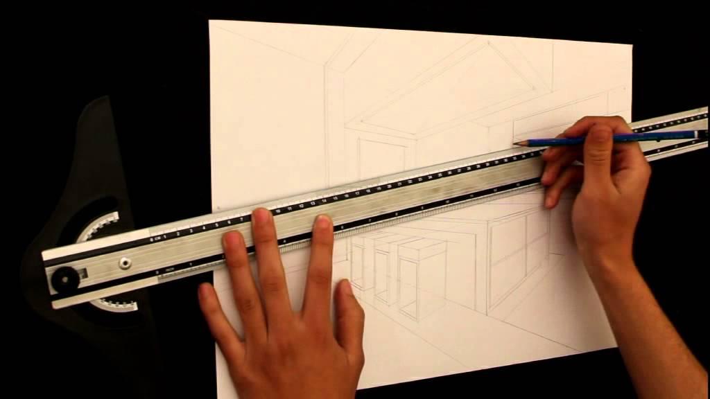 dessin en perspective d une cuisine moderne