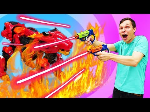 Веселые видео для мальчиков. Игры стрелялки на улице! Бластеры Lazer Mad для детей.