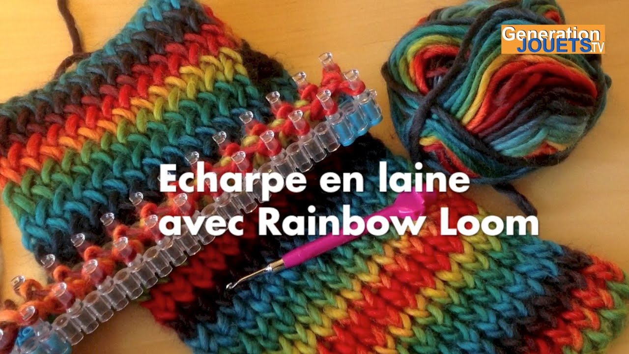 echarpe en laine faite avec rainbow loom tuto youtube. Black Bedroom Furniture Sets. Home Design Ideas