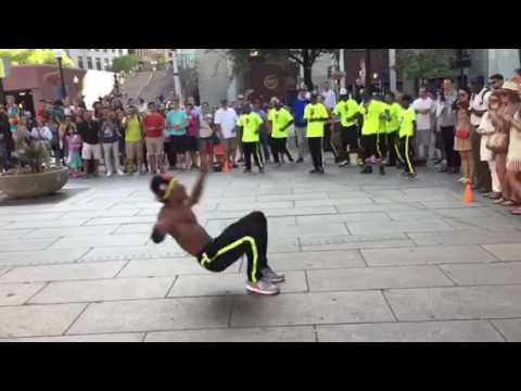 Break Dancing Dancer In Boston Downtown