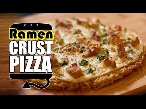 Ramen Crust Chicken Alfredo Pizza Recipe | HellthyJunkFood