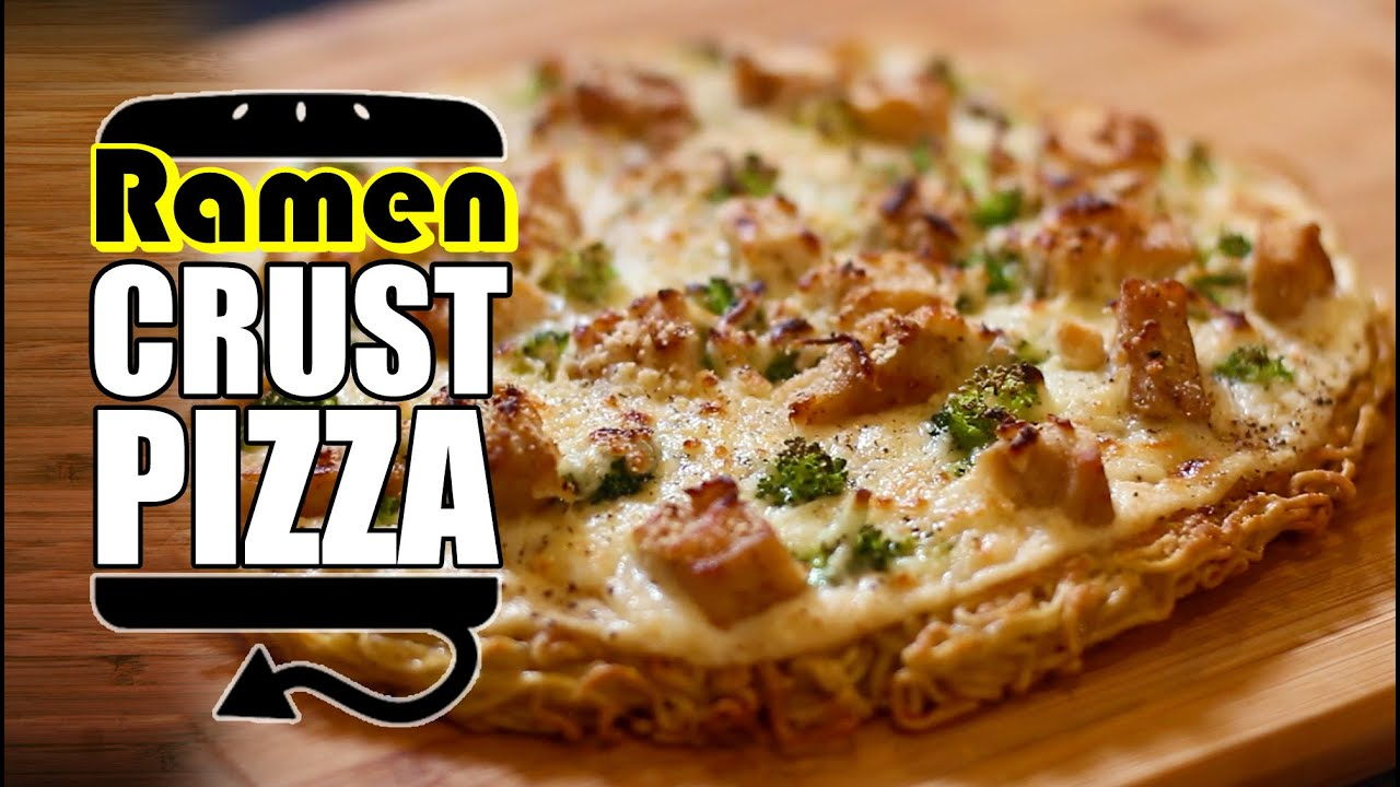 Ramen Crust Chicken Alfredo Pizza Recipe Hellthyjunkfood Youtube