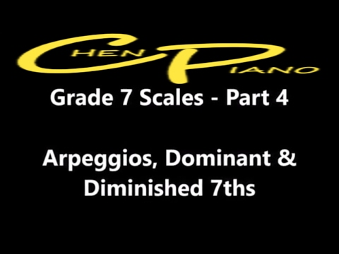 Grade 7 ABRSM scales  - Part 4 - Arpeggios dominant / diminished 7ths with TIME STAMPS