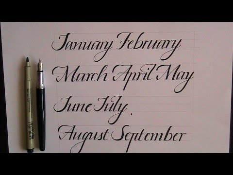 How to write in cursive calligraphy months for Calligraphy youtube