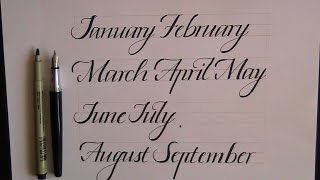 how to write in cursive - months for beginners (calligraphy)