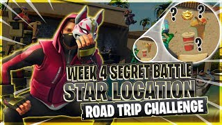 "Week 4's ""ROAD TRIP"" Challenge Secret Star Location! Fortnite: Battle Royal"