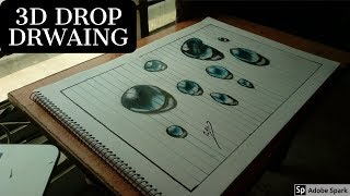 How To Drawing Water Drops on Line Paper - How to Draw 3D Drops-sonu art mastre