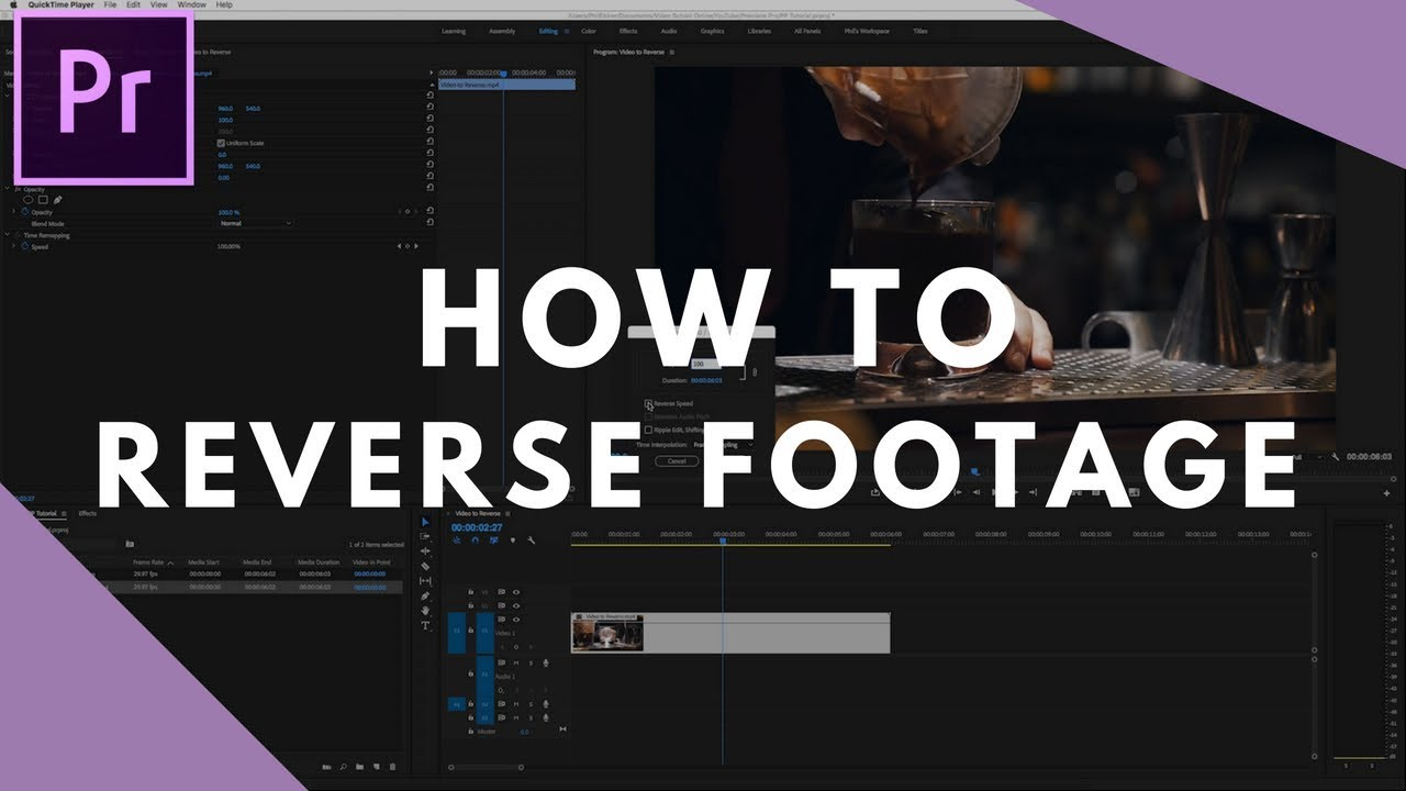 How to Reverse/Rewind Clips in Adobe Premiere Pro Step by Step