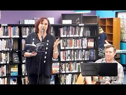 Janet Kuypers reads 2 book poems & covers Feedback song w/ John guitar @ Recycled Reads 3/4/18 L T56