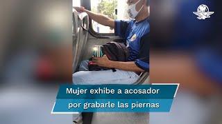 Acosador graba piernas a mujer en transporte de Cancún y ella lo enfrenta