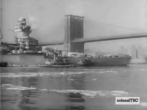 French Battleship Richelieu enters New York City - February 1943