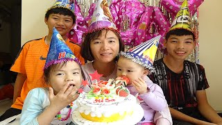 Happy birthday mommy with funny kids and nursery rhymes song for babies - Cake happy birthday to you