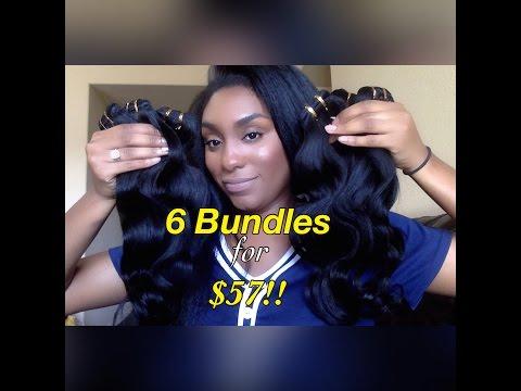 6 Bundles For $57!!!??  Virgin Brazilian Hair?!! + Free & Fast Shipping!