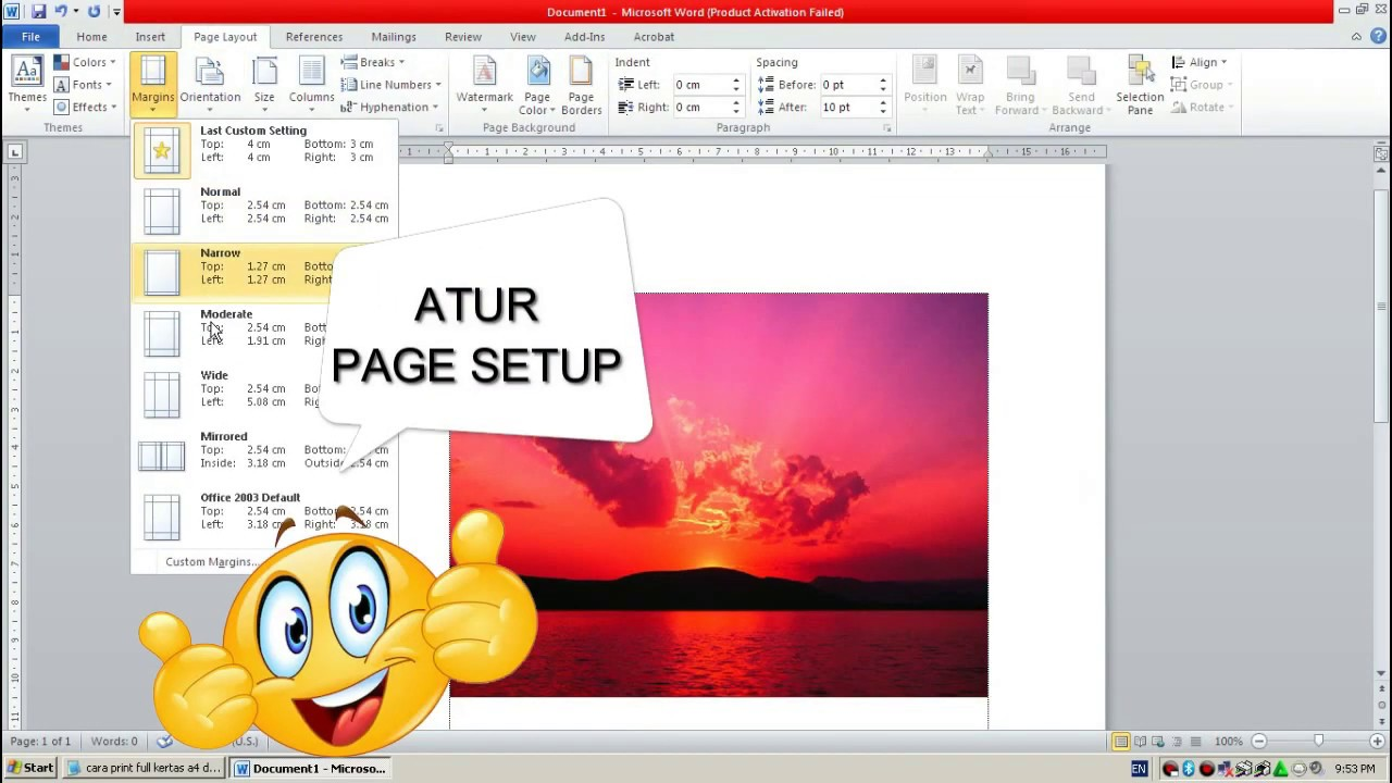 Cara Print Full Kertas A4 Di Word Cara Print Penuh Kertas A4 Youtube